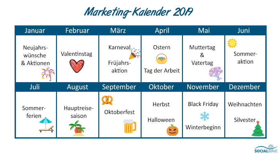 Marketing-Ideen Kalender 2019