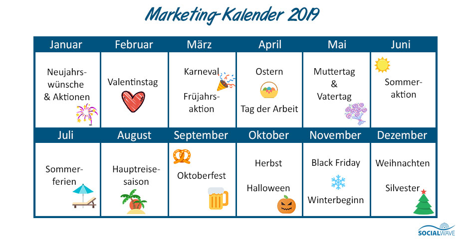 Marketing-Kalender mit Ideen