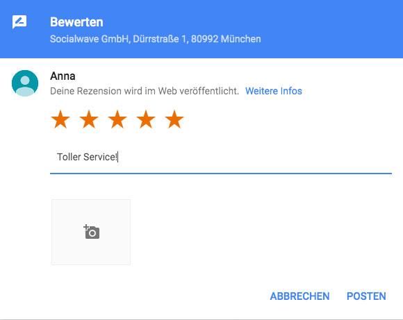 positive Bewertung Google