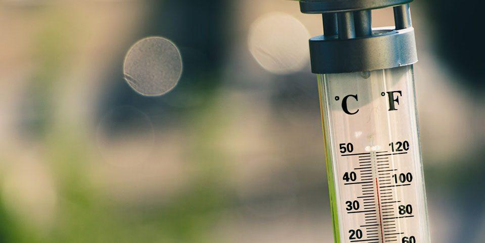 Ein Thermometer, das ca. 40 Grad anzeigt