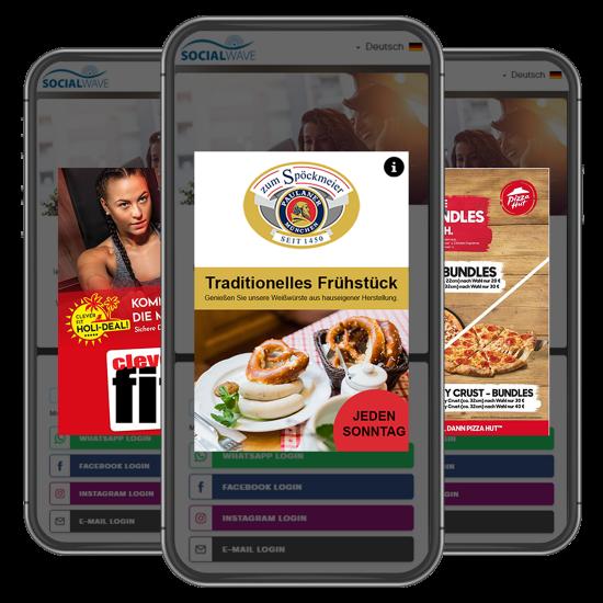 Drei Handys mit Pop Up Werbung