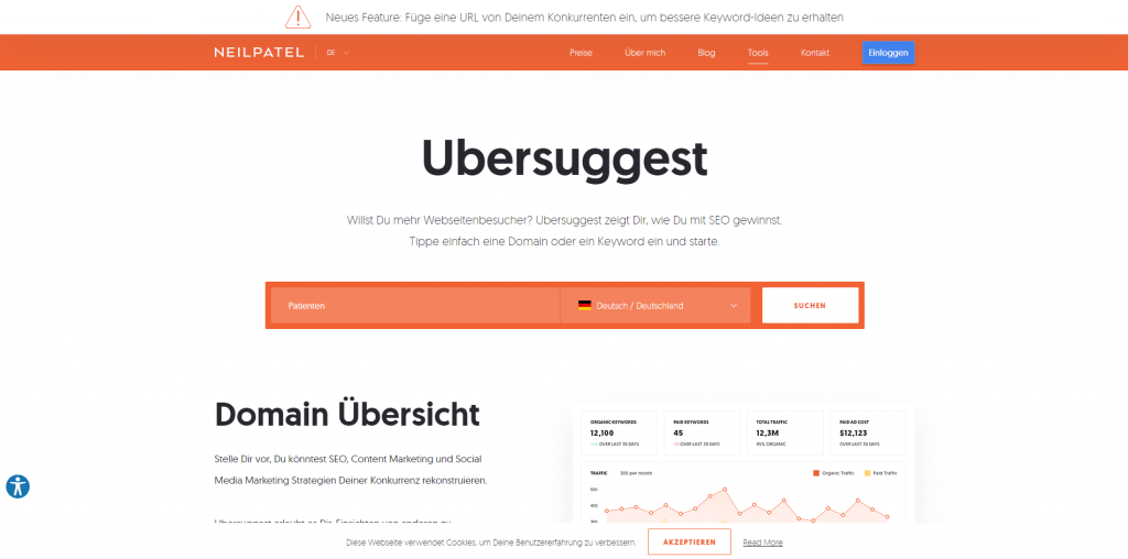 Screenshot von Ubersuggest